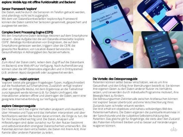 12 explore: Mobile App mit offline Funktionalität und Backend Sensor Framework 'explore' Die Daten, welche durch die Senso...