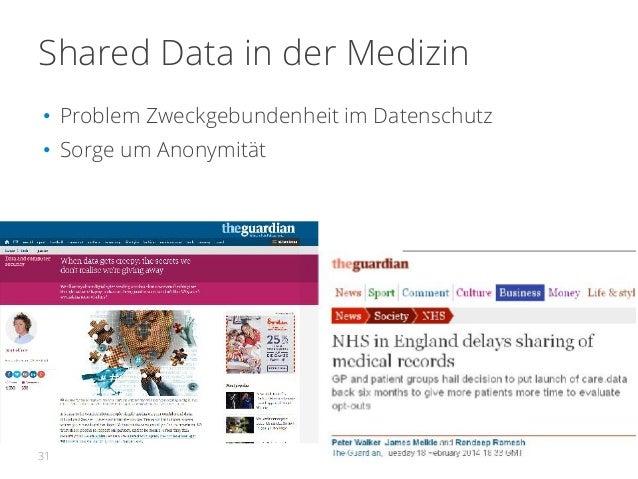 Shared Data in der Medizin • Problem Zweckgebundenheit im Datenschutz • Sorge um Anonymität 31