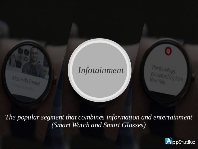 InfotainmentInfotainment The popular segment that combines information and entertainment (Smart Watch and Smart Glasses)