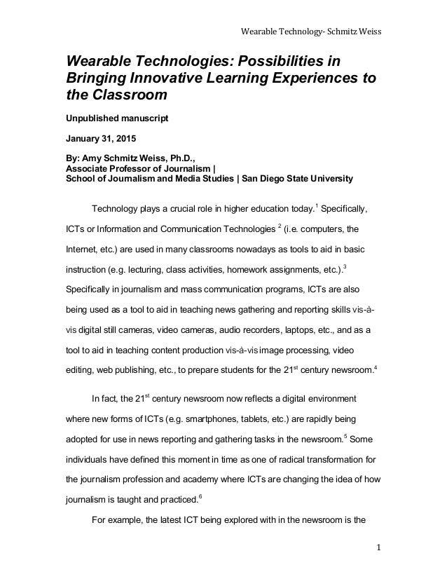 Wearable  Technology-‐  Schmitz  Weiss      1   Wearable Technologies: Possibilities in Bringing Innovative L...