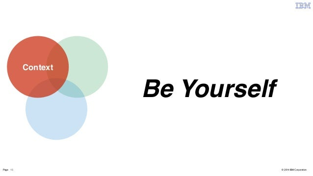 Context  Be Yourself  Page 15 © 2014 IBM Corporation