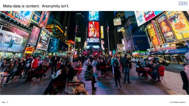 Meta-data is content. Anonymity isn't.  Page 22  © 2014 IBM Corporation