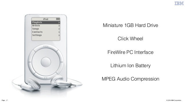 Miniature 1GB Hard Drive  Click Wheel  FireWire PC Interface  Lithium Ion Battery  MPEG Audio Compression  Page 27 © 2014 ...