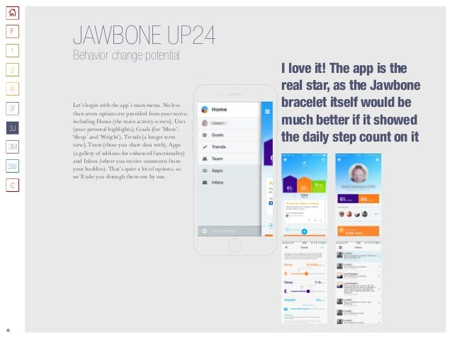 45 JAWBONE UP24 Behavior change potential Let's begin with the app's main menu. No less than seven options are provided fr...