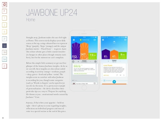 46 JAWBONE UP24 Home Straight away, Jawbone makes the user feel right at Home. This screen nicely displays your daily stat...