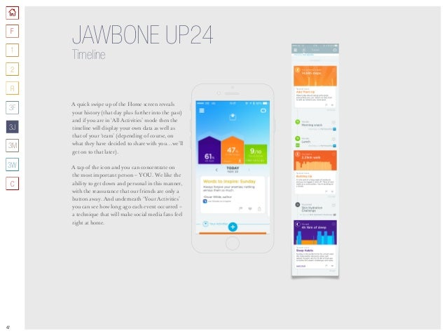 47 JAWBONE UP24 Timeline A quick swipe up of the Home screen reveals your history (that day plus further into the past) an...