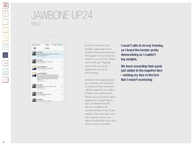 55 JAWBONE UP24 Inbox As well as comments and 'feelings' appearing in your timeline from your teammates, they appear in yo...