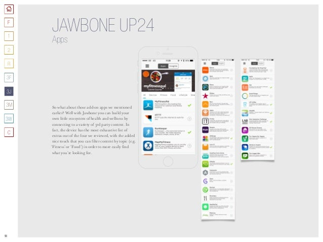 56 JAWBONE UP24 Apps So what about those add-on apps we mentioned earlier? Well with Jawbone you can build your own little...