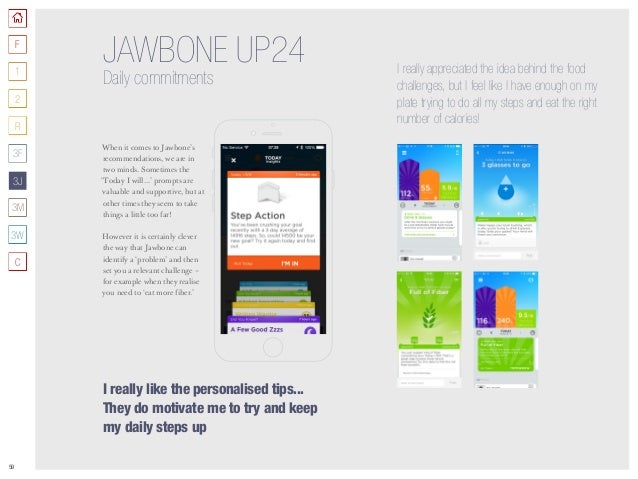 59 JAWBONE UP24 Daily commitments When it comes to Jawbone's recommendations, we are in two minds. Sometimes the 'Today I ...
