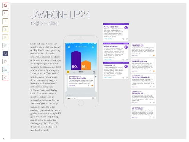 61 JAWBONE UP24 Insights –Sleep First up, Sleep. A lot of the insights take a 'Did you know?' or 'Try This' format, provi...