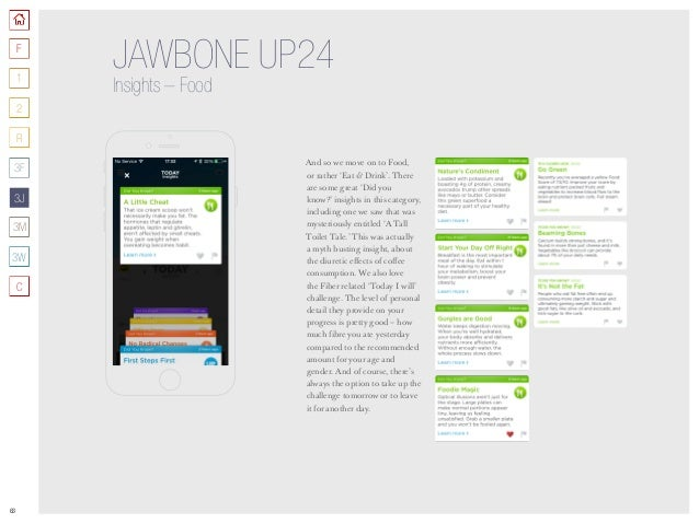 63 JAWBONE UP24 Insights –Food And so we move on to Food, or rather 'Eat  Drink'. There are some great 'Did you know?' in...