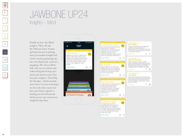 64 JAWBONE UP24 Insights –Mind Finally we have the Mind insights. These all take the 'Did you know' format (perhaps becau...