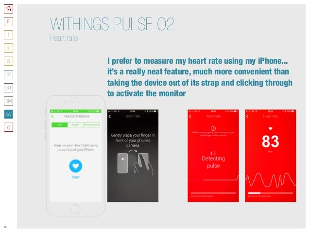81 WITHINGS PULSE O2 Heart rate I prefer to measure my heart rate using my iPhone... it's a really neat feature, much more...