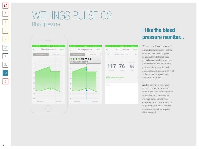 82 WITHINGS PULSE O2 Blood pressure What about blood pressure? Same deal here really – all the stats you can cram in your ...