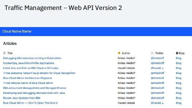 Traffic Management – Web API Version 2