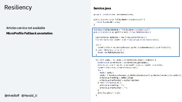 Resiliency @nheidloff @Harald_U Articles service not available MicroProfile Fallback annotation Service.java