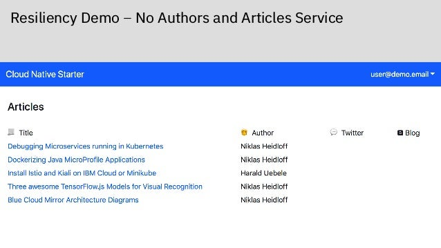 Resiliency Demo – No Authors and Articles Service