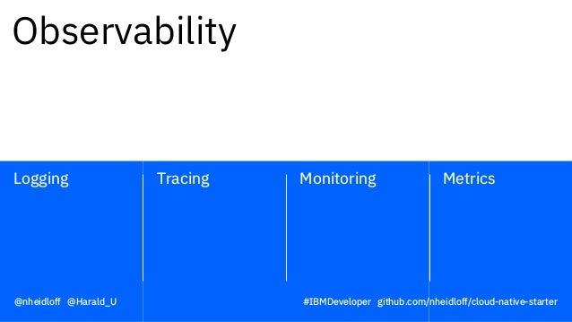Monitoring MetricsTracingLogging Observability @nheidloff @Harald_U #IBMDeveloper github.com/nheidloff/cloud-native-starter