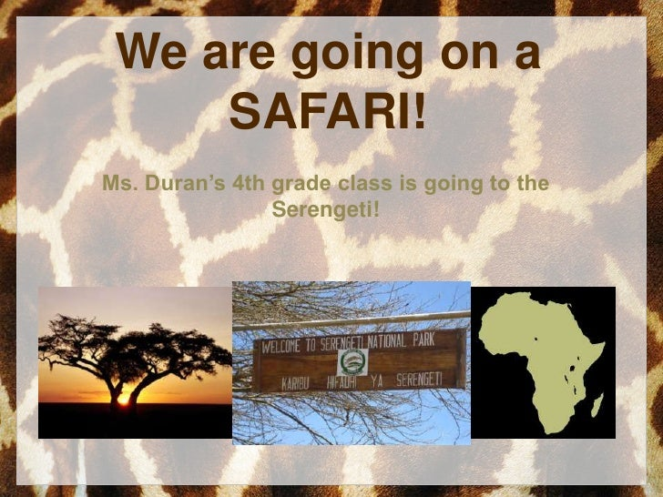 We are going on a SAFARI!<br />Ms. Duran's 4th grade class is going to the Serengeti!<br />