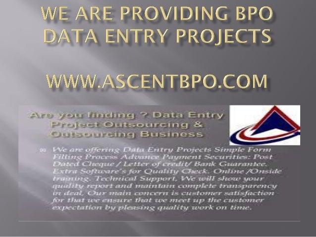 We are providing bpo data entry projects