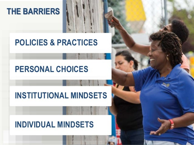 1 7 POLICIES & PRACTICES PERSONAL CHOICES INSTITUTIONAL MINDSETS INDIVIDUAL MINDSETS THE BARRIERS