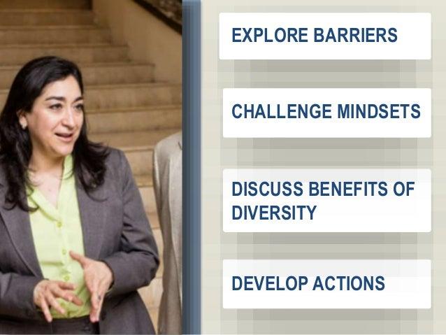 3 EXPLORE BARRIERS CHALLENGE MINDSETS DISCUSS BENEFITS OF DIVERSITY DEVELOP ACTIONS