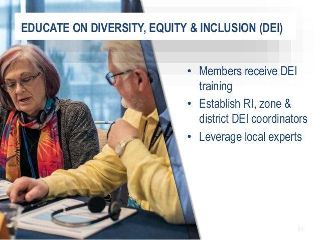 3 1 • Members receive DEI training • Establish RI, zone & district DEI coordinators • Leverage local experts EDUCATE ON DI...