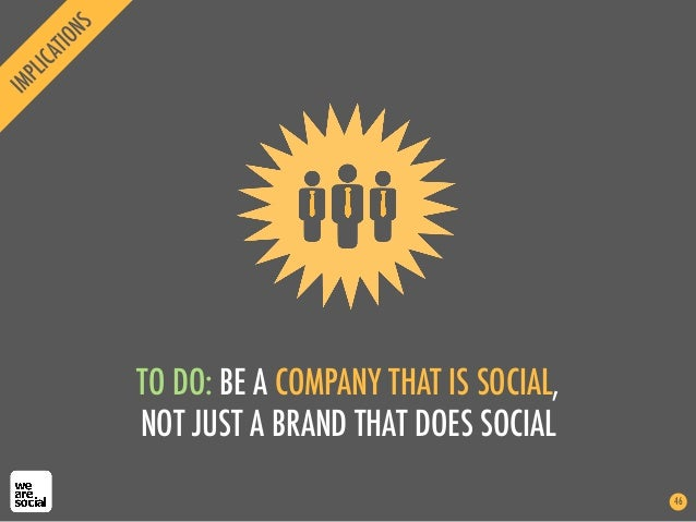 TO DO: BE A COMPANY THAT IS SOCIAL,NOT JUST A BRAND THAT DOES SOCIAL46