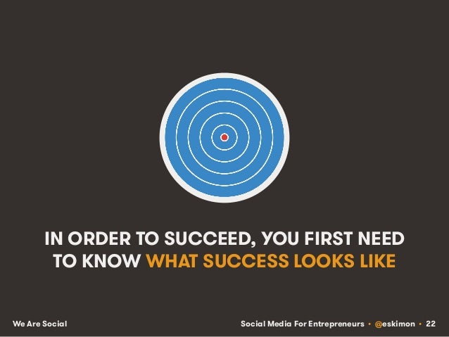 Social Media For Entrepreneurs • @eskimon • 22We Are Social IN ORDER TO SUCCEED, YOU FIRST NEED TO KNOW WHAT SUCCESS LOOKS...