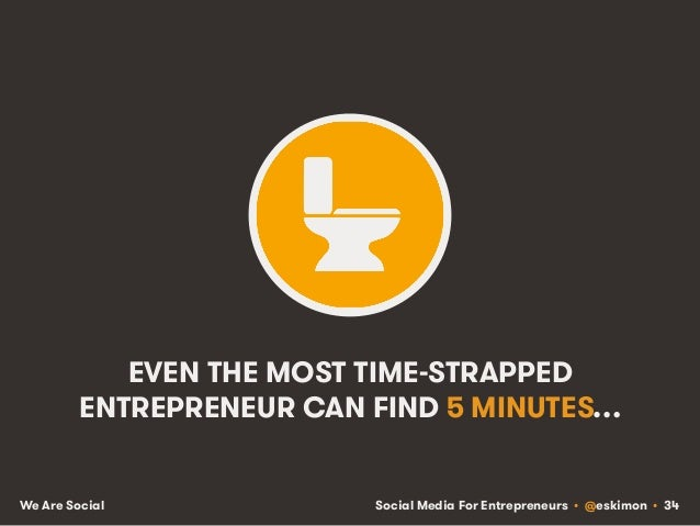 Social Media For Entrepreneurs • @eskimon • 34We Are Social EVEN THE MOST TIME-STRAPPED ENTREPRENEUR CAN FIND 5 MINUTES…
