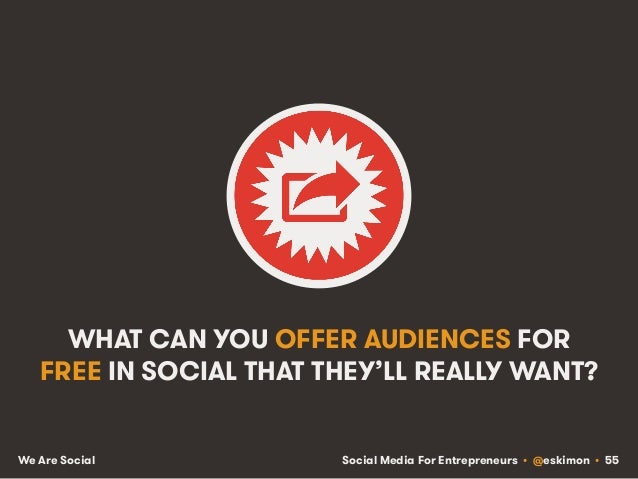 Social Media For Entrepreneurs • @eskimon • 55We Are Social WHAT CAN YOU OFFER AUDIENCES FOR FREE IN SOCIAL THAT THEY'LL R...