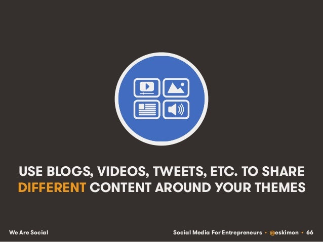 Social Media For Entrepreneurs • @eskimon • 66We Are Social USE BLOGS, VIDEOS, TWEETS, ETC. TO SHARE DIFFERENT CONTENT ARO...