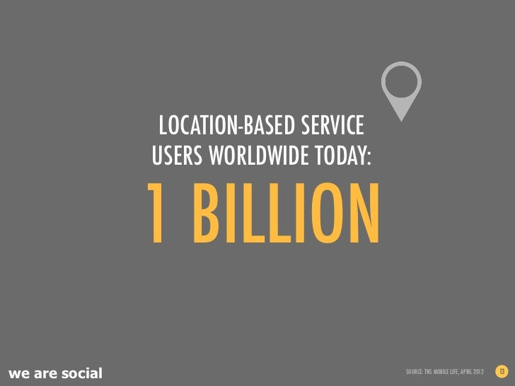 LOCATION-BASED SERVICE                USERS WORLDWIDE TODAY:                1 BILLIONwe are social                        ...