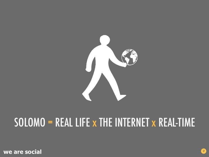 SOLOMO = REAL LIFE x THE INTERNET x REAL-TIMEwe are social                                      17