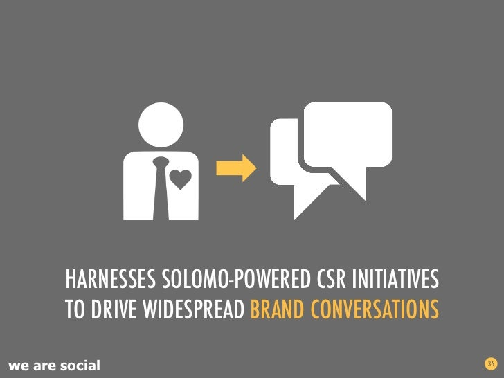 HARNESSES SOLOMO-POWERED CSR INITIATIVES       TO DRIVE WIDESPREAD BRAND CONVERSATIONSwe are social                       ...