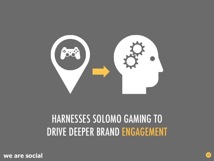 HARNESSES SOLOMO GAMING TO                DRIVE DEEPER BRAND ENGAGEMENTwe are social                                   43