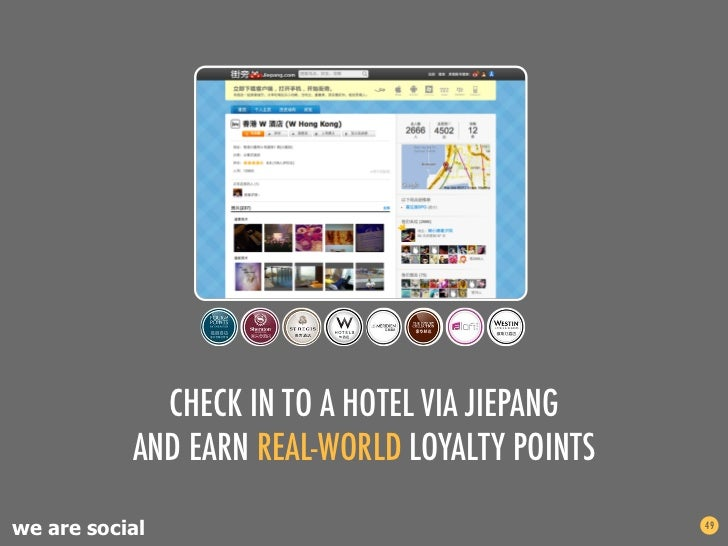 CHECK IN TO A HOTEL VIA JIEPANG           AND EARN REAL-WORLD LOYALTY POINTSwe are social                                 ...