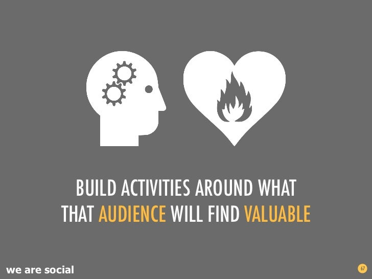 BUILD ACTIVITIES AROUND WHAT          THAT AUDIENCE WILL FIND VALUABLEwe are social                                67