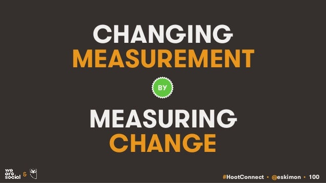 #HootConnect • @eskimon • 100& CHANGING MEASUREMENT MEASURING CHANGE BY