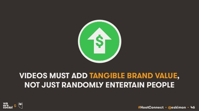 #HootConnect • @eskimon • 46& VIDEOS MUST ADD TANGIBLE BRAND VALUE, NOT JUST RANDOMLY ENTERTAIN PEOPLE