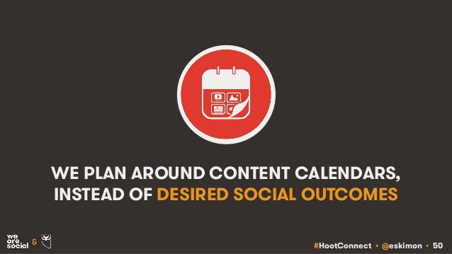 #HootConnect • @eskimon • 50& WE PLAN AROUND CONTENT CALENDARS, INSTEAD OF DESIRED SOCIAL OUTCOMES