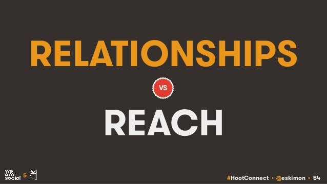 #HootConnect • @eskimon • 54& RELATIONSHIPS REACH VS