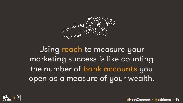 #HootConnect • @eskimon • 64& Using reach to measure your marketing success is like counting the number of bank accounts y...