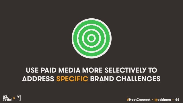 #HootConnect • @eskimon • 66& USE PAID MEDIA MORE SELECTIVELY TO ADDRESS SPECIFIC BRAND CHALLENGES