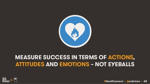 #HootConnect • @eskimon • 68& MEASURE SUCCESS IN TERMS OF ACTIONS, ATTITUDES AND EMOTIONS – NOT EYEBALLS