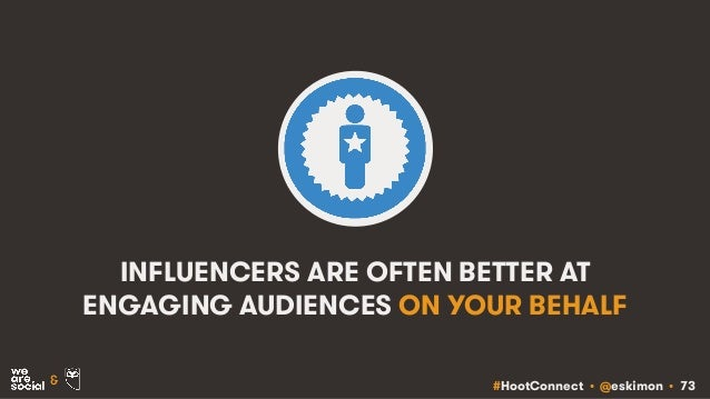 #HootConnect • @eskimon • 73& INFLUENCERS ARE OFTEN BETTER AT ENGAGING AUDIENCES ON YOUR BEHALF