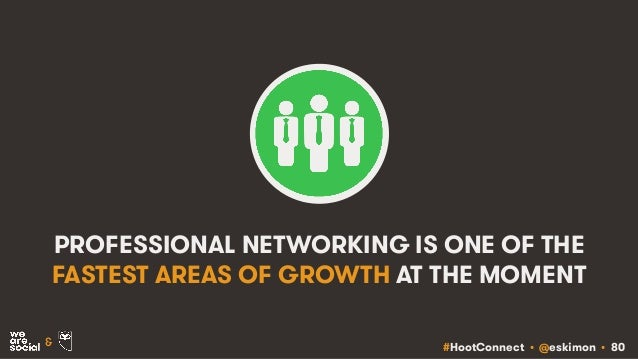 #HootConnect • @eskimon • 80& PROFESSIONAL NETWORKING IS ONE OF THE FASTEST AREAS OF GROWTH AT THE MOMENT