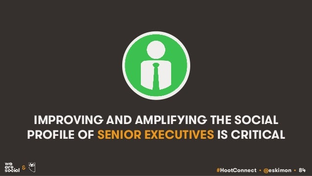 #HootConnect • @eskimon • 84& IMPROVING AND AMPLIFYING THE SOCIAL PROFILE OF SENIOR EXECUTIVES IS CRITICAL