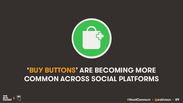 #HootConnect • @eskimon • 89& 'BUY BUTTONS' ARE BECOMING MORE COMMON ACROSS SOCIAL PLATFORMS