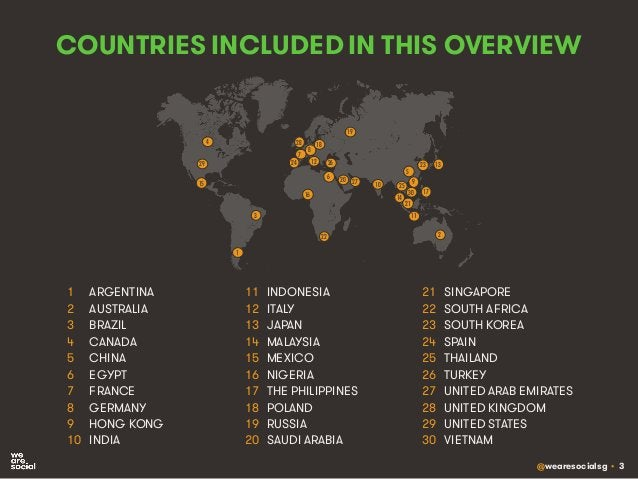 @wearesocialsg • 3 COUNTRIES INCLUDED IN THIS OVERVIEW 1 ARGENTINA 2 AUSTRALIA 3 BRAZIL 4 CANADA 5 CHINA 6 EGYPT 7 FRANCE ...
